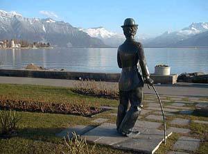 Denkmal Charlie Chaplins im Park von Corsier-sur-Vevey