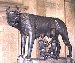 Wölfin mit den Zwillingen Romulus und Remus