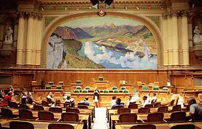 Nationalratssaal im Bundeshaus Bern